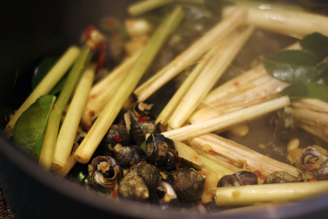 Ginger Lemongrass Snails with Chiles