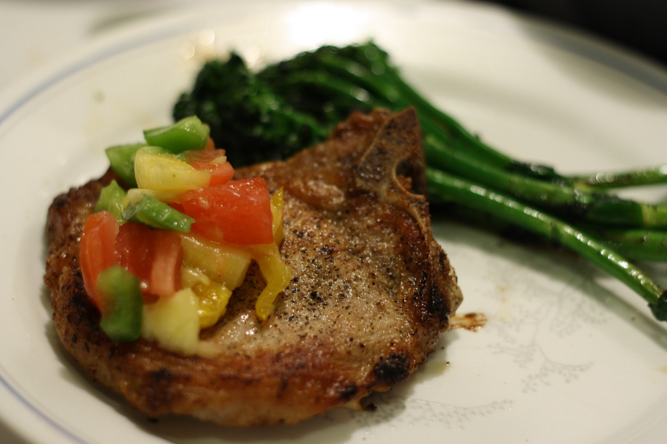 Pan-Grilled Pork Chops with Pineapple Salsa