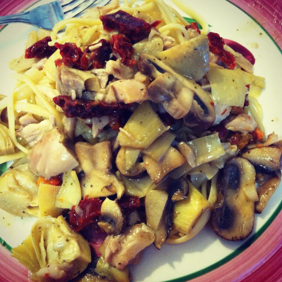 Lemon Chicken Pasta with Artichoke Hearts, Mushrooms and Sun Dried Tomatoes
