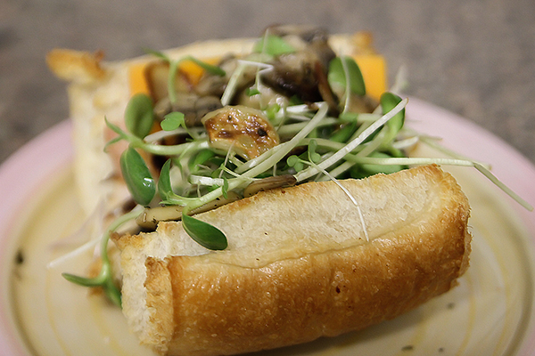 Leftover Roast Chicken Sandwich with Microgreens and Mushrooms
