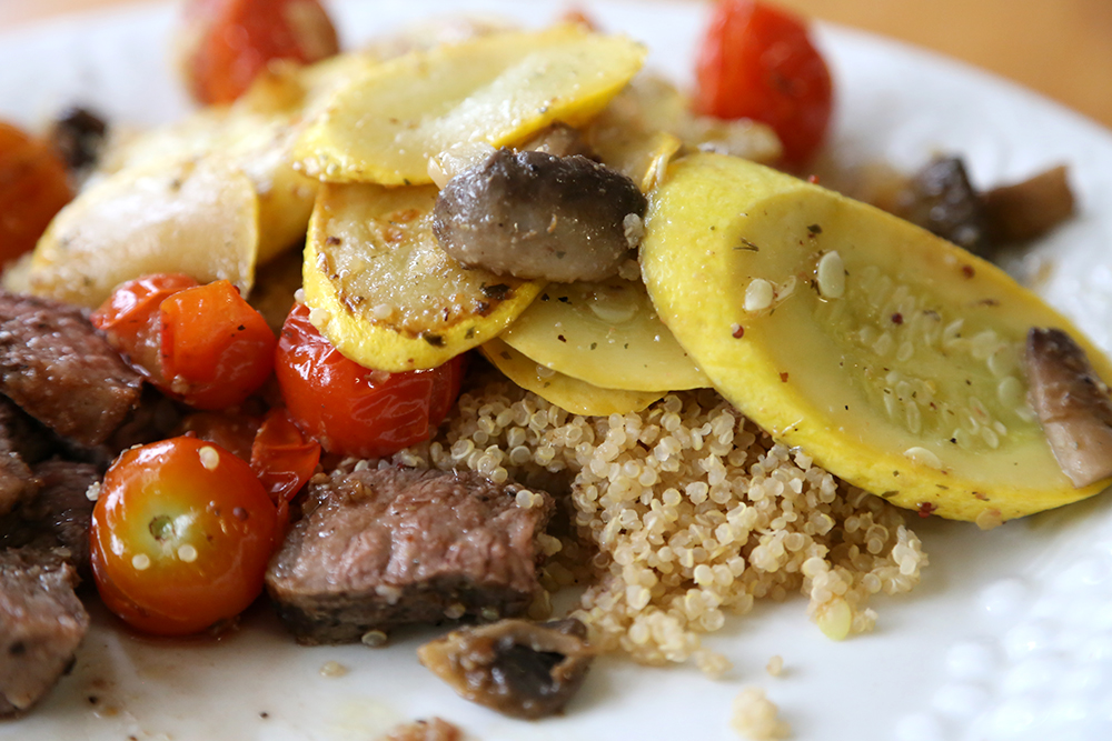 Summer Squash Saute over quinoa