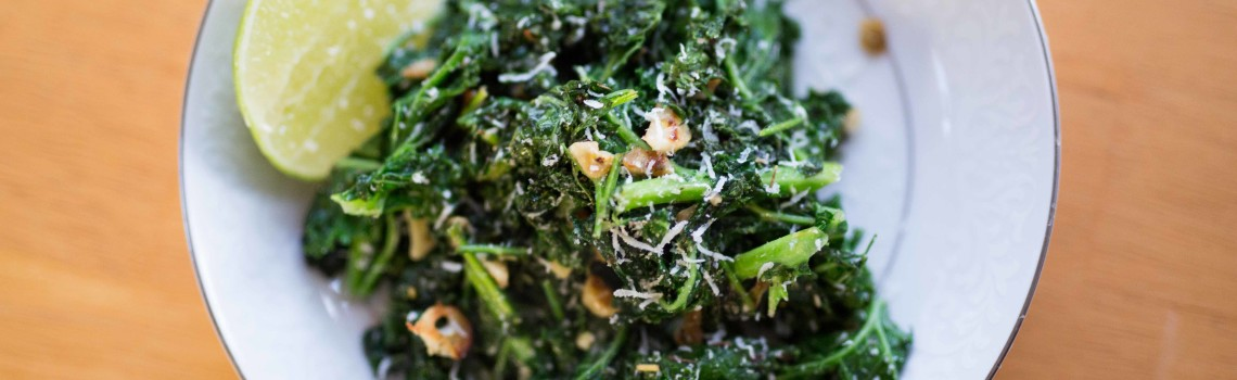 Sautéed Kale with Garlic and Carrot Greens
