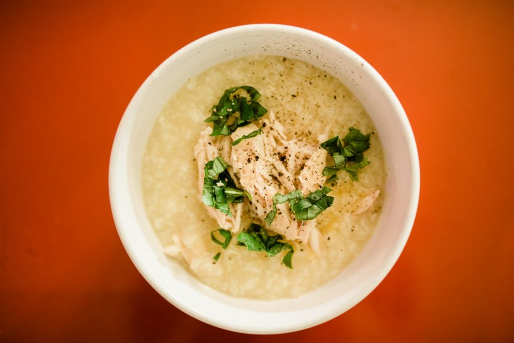 Recipe for Instant Pot Rice Congee, Rice Porridge using Frozen Chicken Breasts
