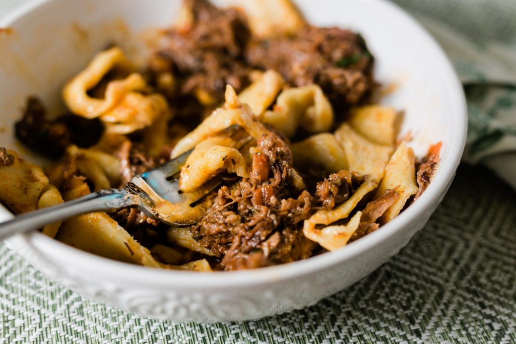 Instant Pot Recipe for Shredded Beef Ragu with Pappardelle Pasta