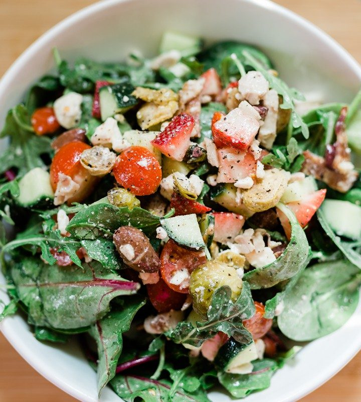 Greek Salad with Strawberries with Roasted Brussel Sprouts