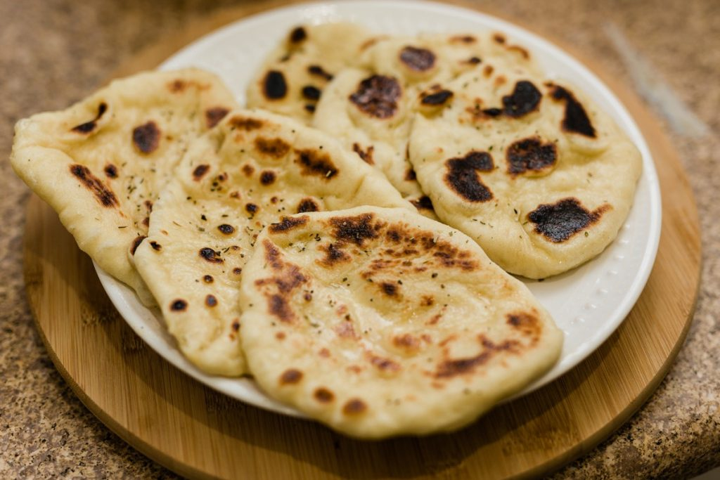 Homemade Naan Bread with Garlic Herb Butter