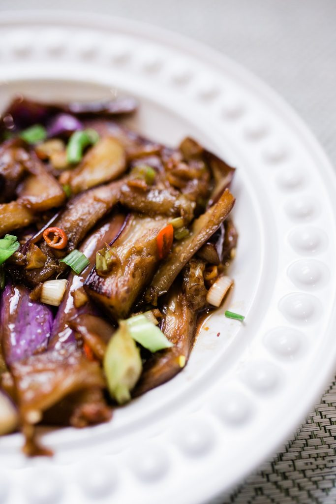 Chinese Szechuan Stir-Fried Eggplant in a Spicy Garlic Sauce