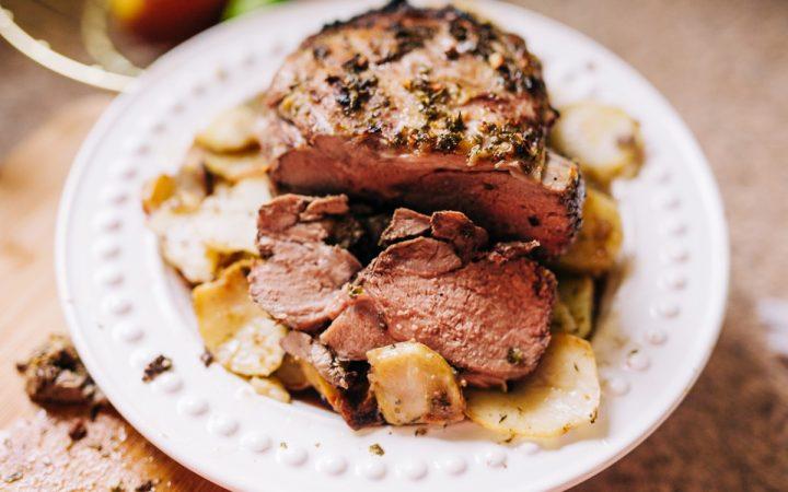 Recipe for Herb Roasted Boneless Leg of Lamb with Potatoes