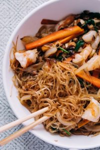 Stir-Fried Glass Noodles with Shrimp and Vegetables