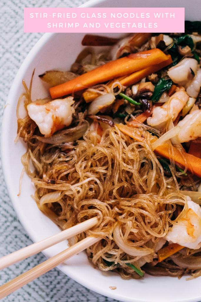 Stir-Fried Glass Noodles with Shrimp and Vegetables