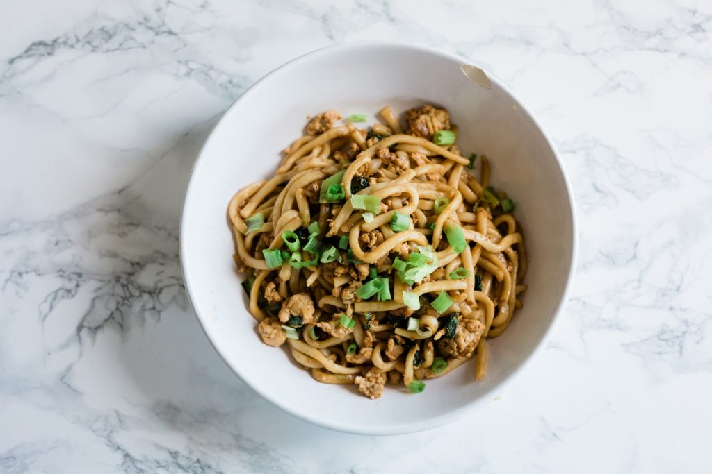 Sesame Udon Noodles with Ground Chicken Recipe